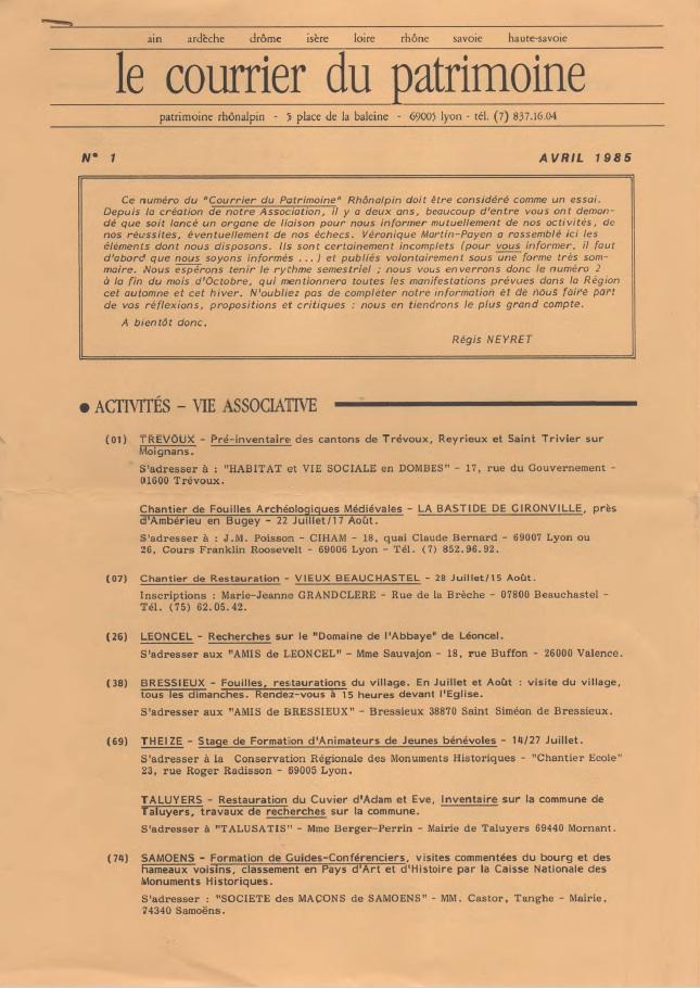 Couverture du Courrier du patrimoine n°1