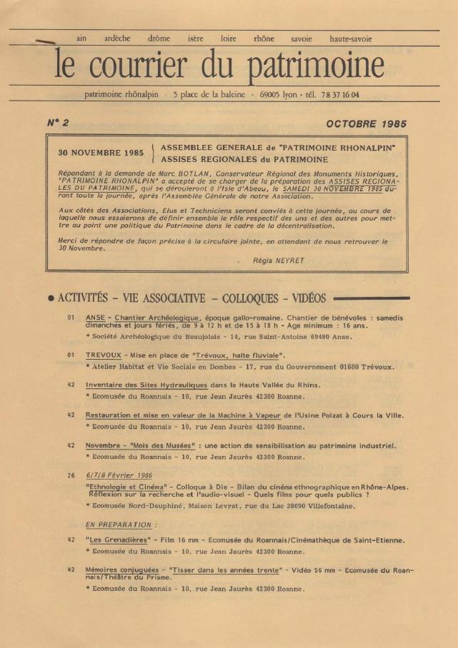 Couverture du Courrier du patrimoine n°2