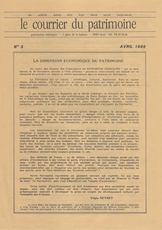 Couverture du Courrier du patrimoine n°3