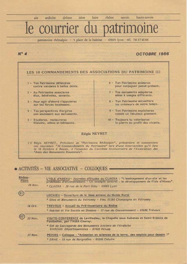 Couverture du Courrier du patrimoine n°4