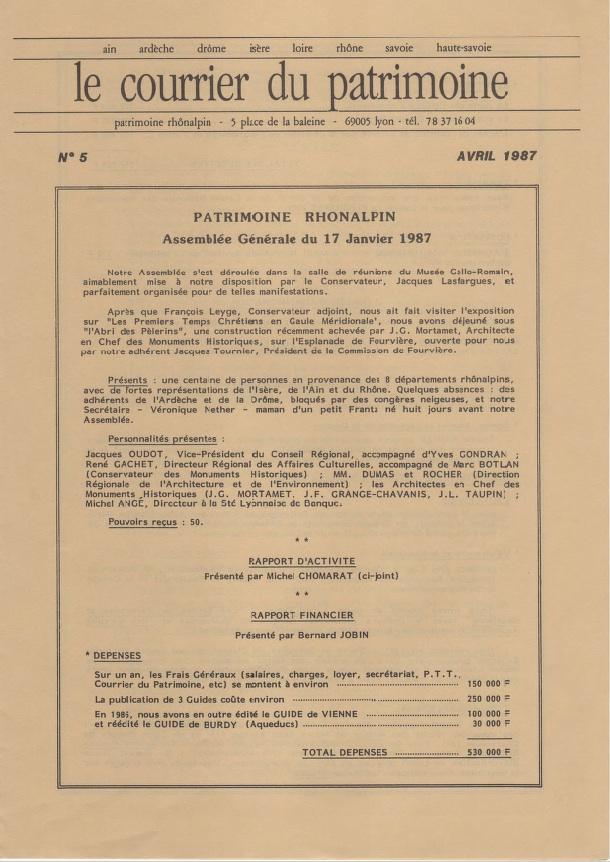 Couverture du Courrier du patrimoine n°5