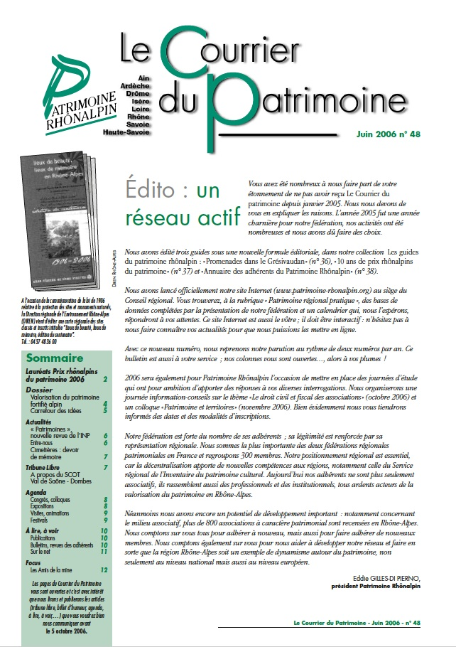 Couverture du Courrier du patrimoine n°48