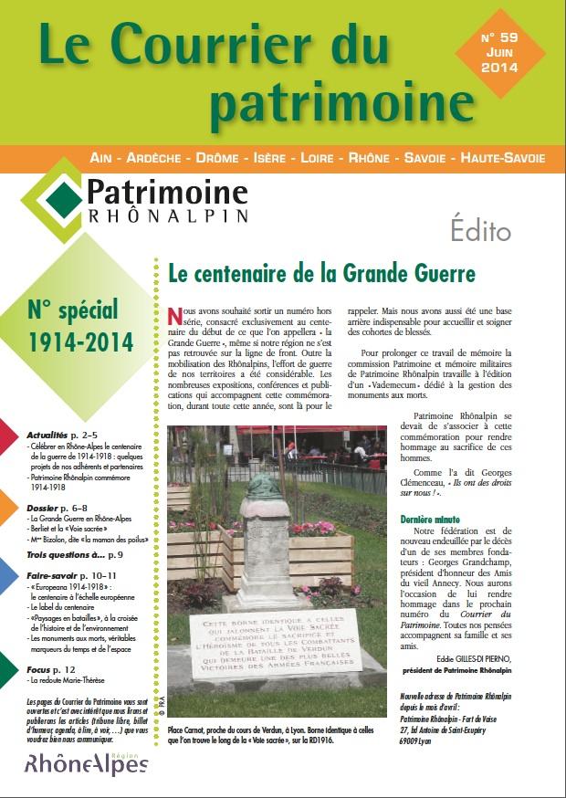 Couverture du Courrier du patrimoine n°59