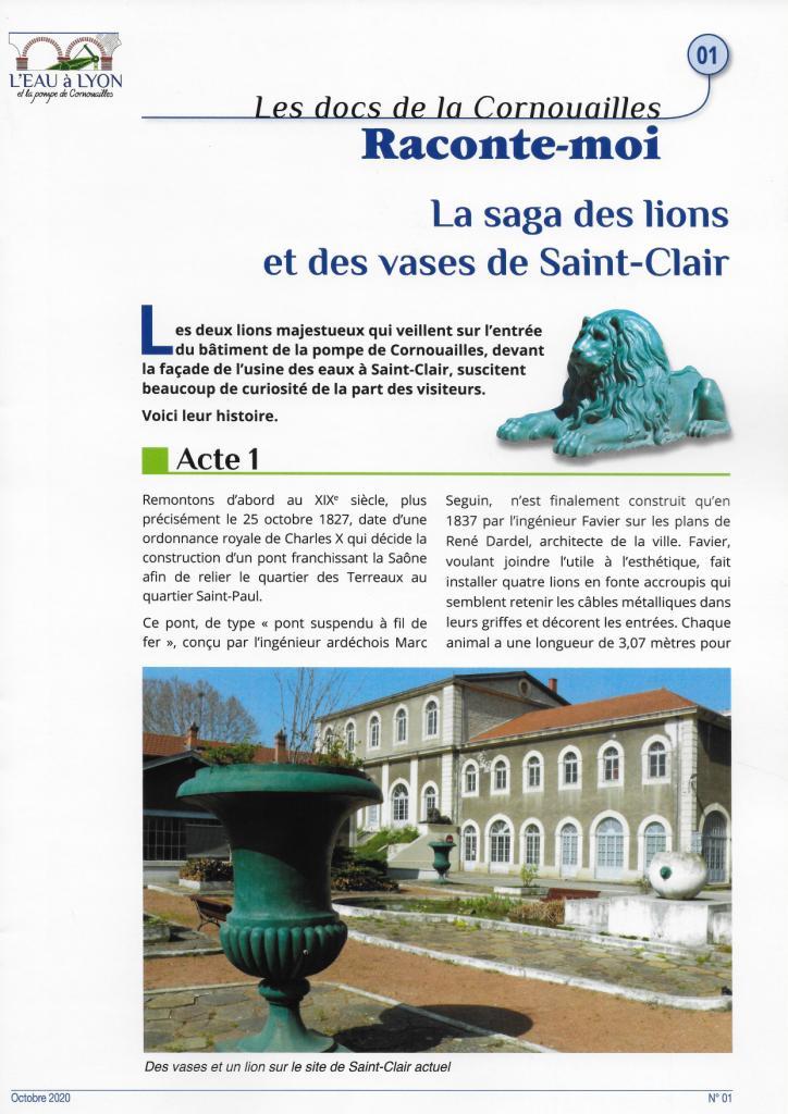 La saga des lions et des vases de Saint-Clair