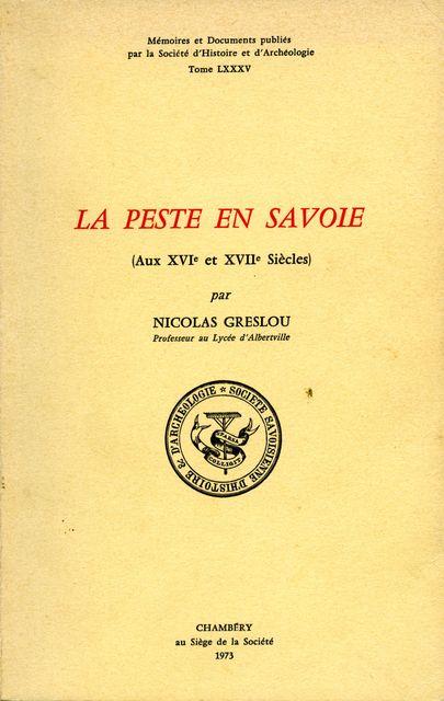 La peste en Savoie au XVIe et XVIIe siècles