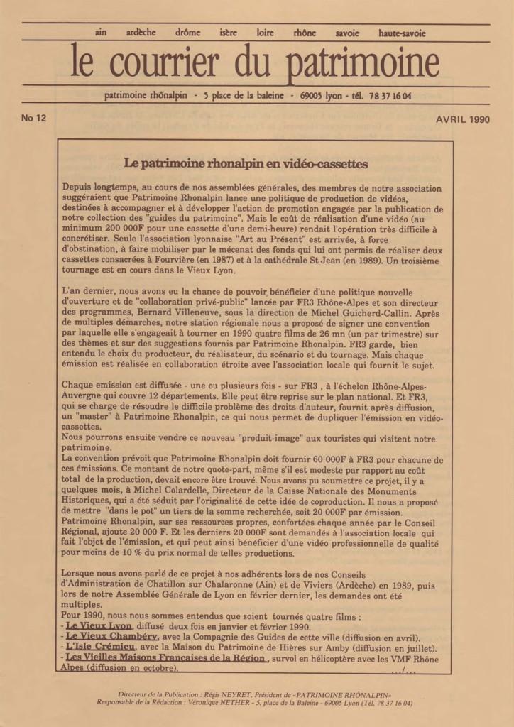 Couverture du Courrier du patrimoine n°12