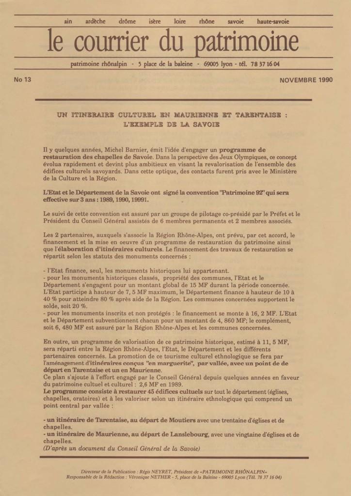 Couverture du Courrier du patrimoine n°13