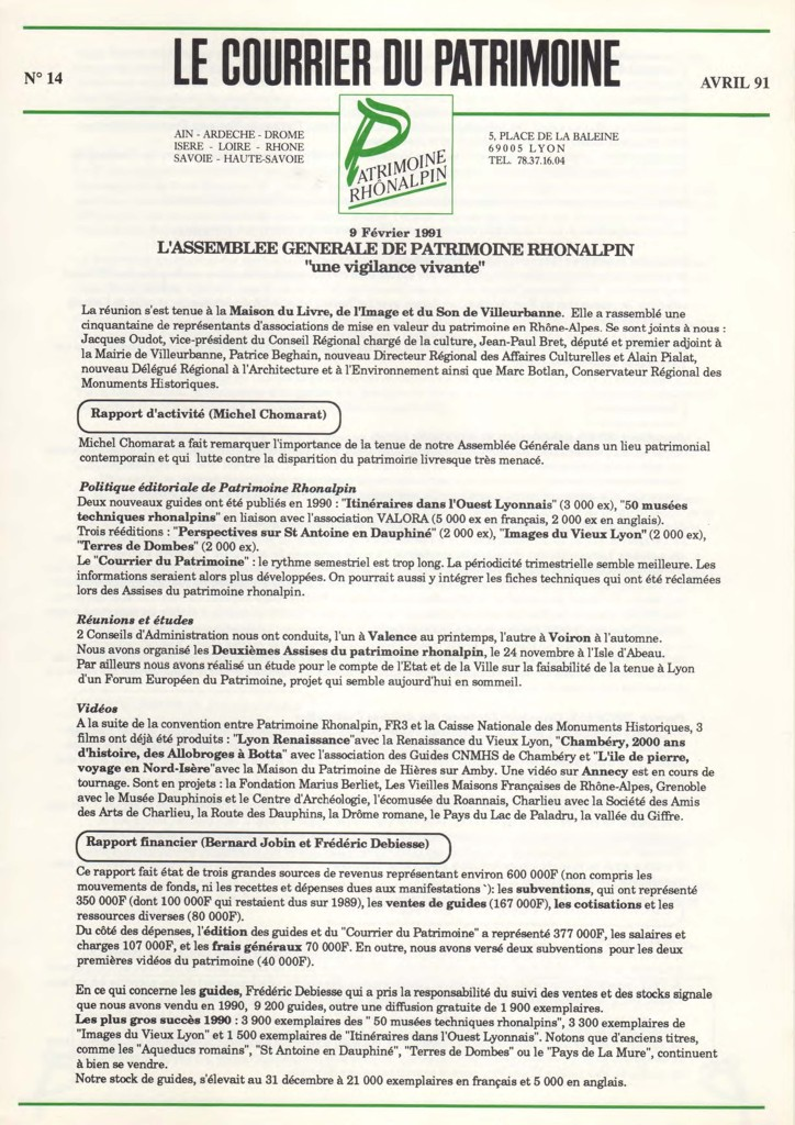 Couverture du Courrier du patrimoine n°14