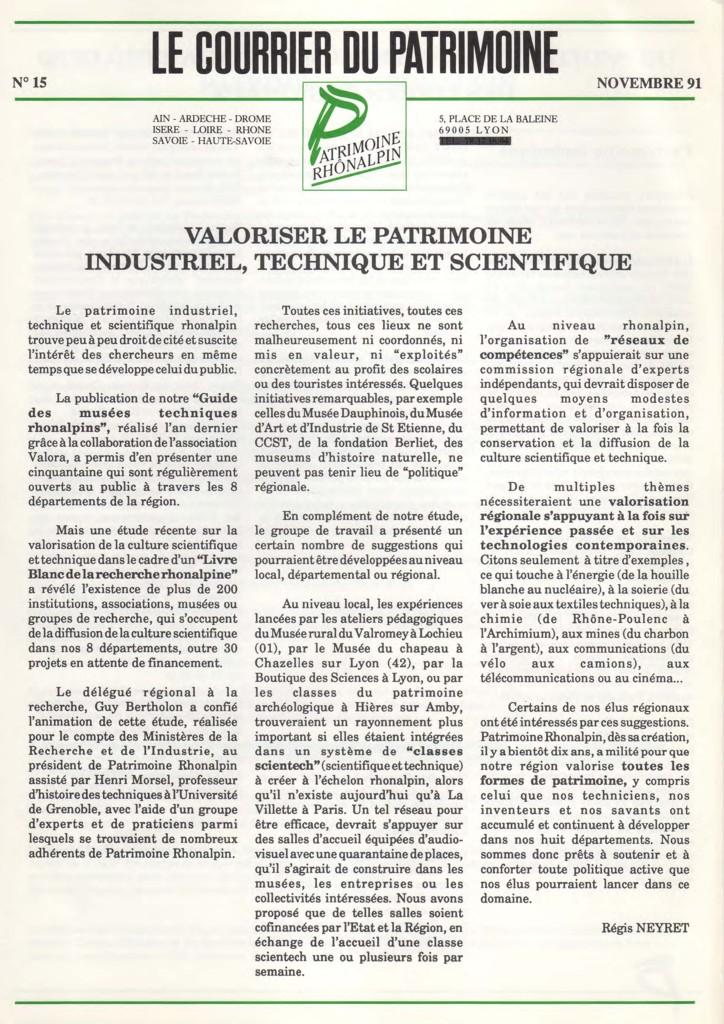 Couverture du Courrier du patrimoine n°15