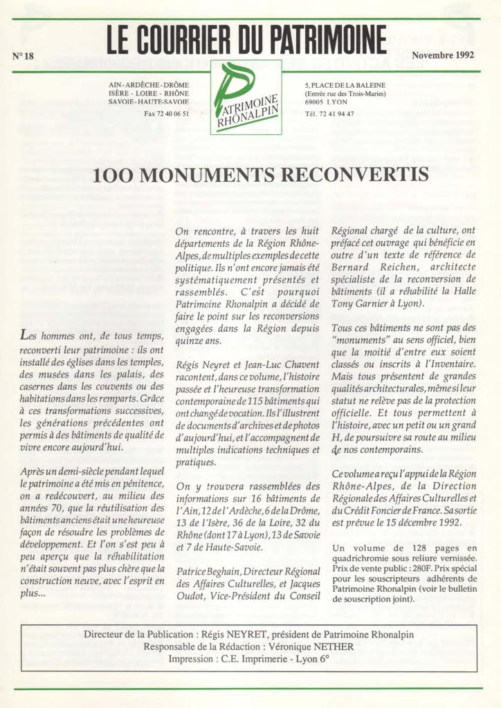 Couverture du Courrier du patrimoine n°18