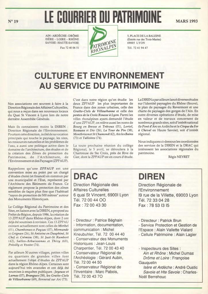 Couverture du Courrier du patrimoine n°19