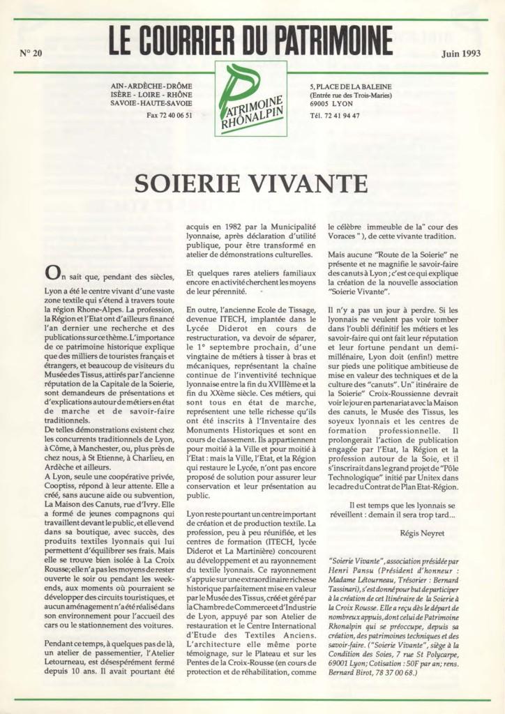 Couverture du Courrier du patrimoine n°20