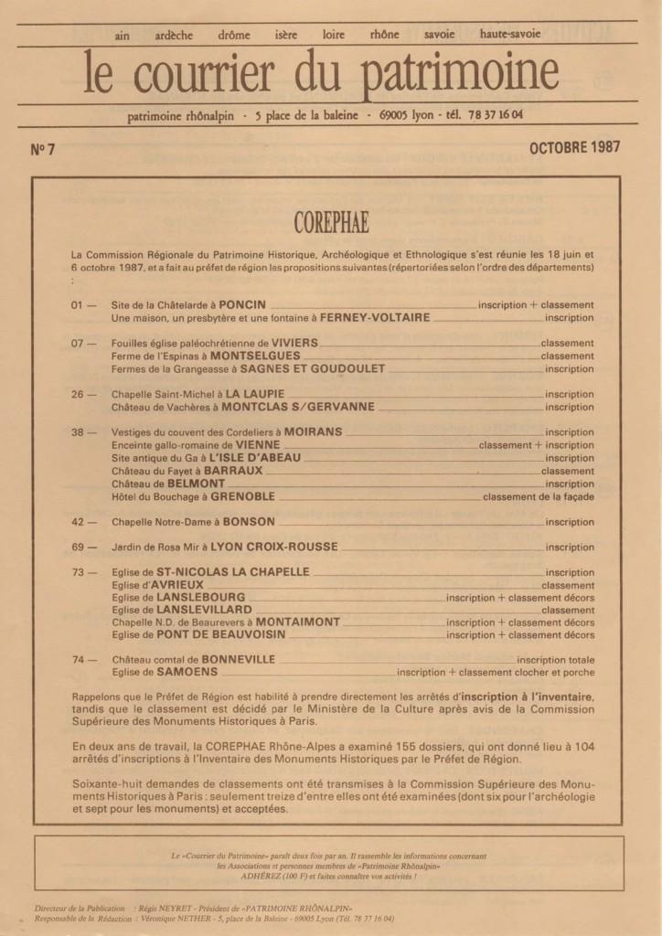 Couverture du Courrier du patrimoine n°6