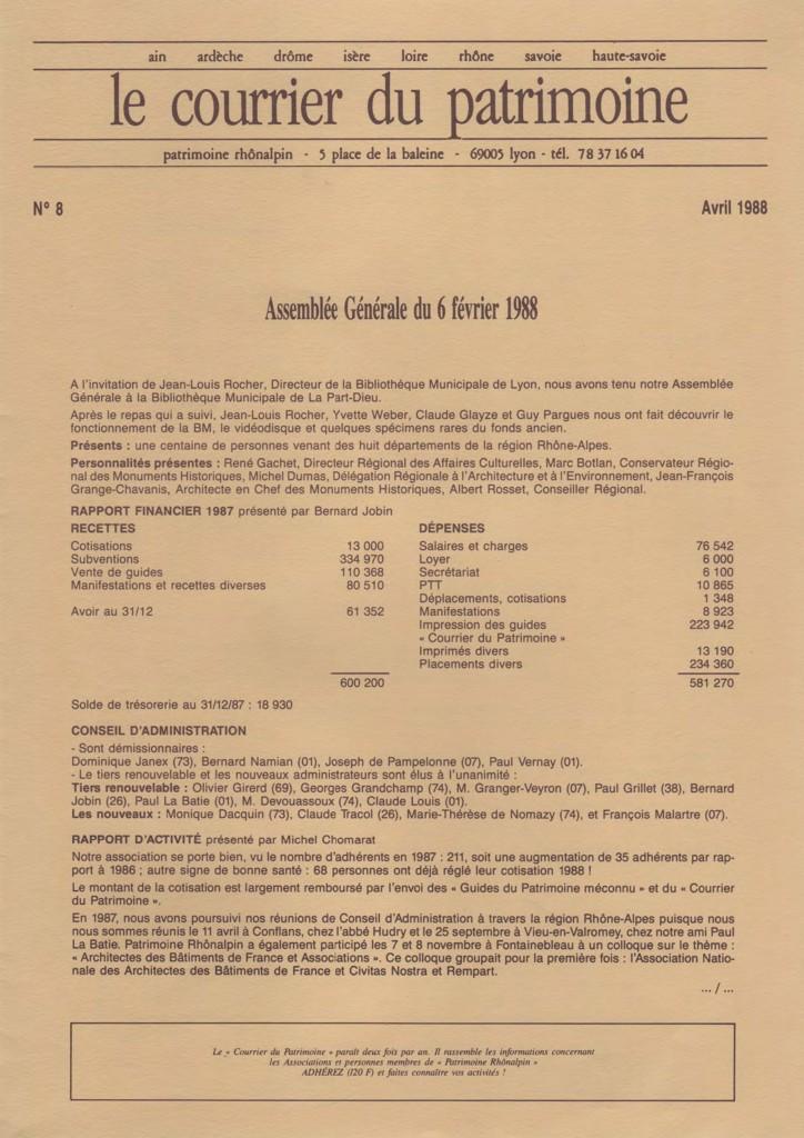 Couverture du Courrier du patrimoine n°8