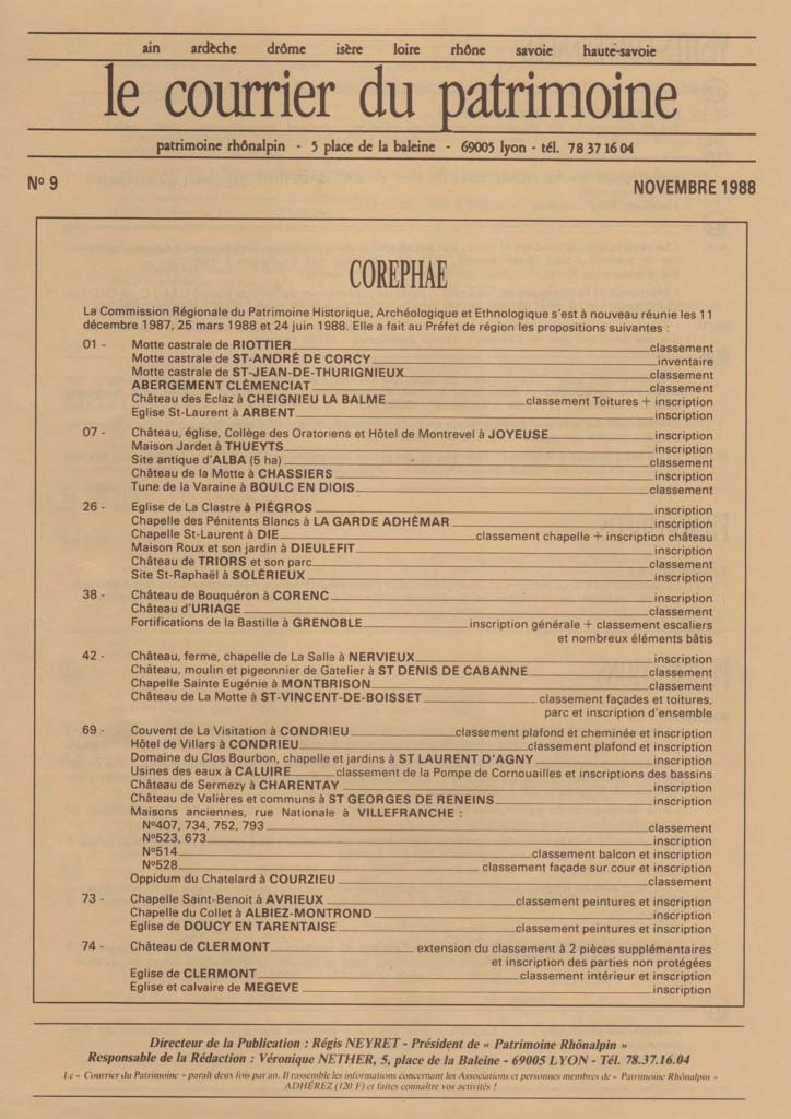 CCouverture du Courrier du patrimoine n°9