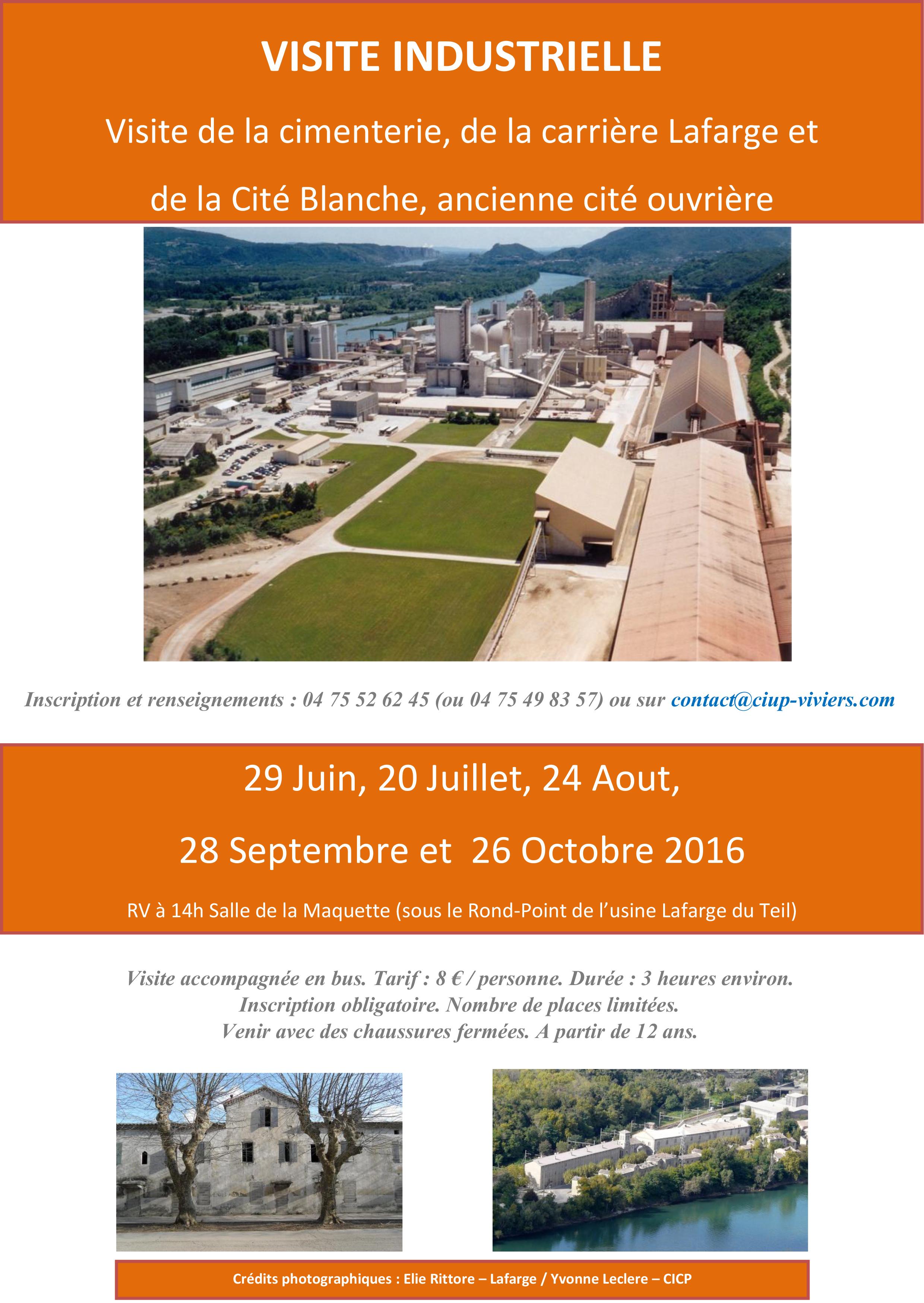 Visite industrielle la cimenterie, de la carrière Lafarge et de la Cité Blanche